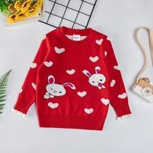 Toddler Girls Cartoon And Heart Pattern Sweater