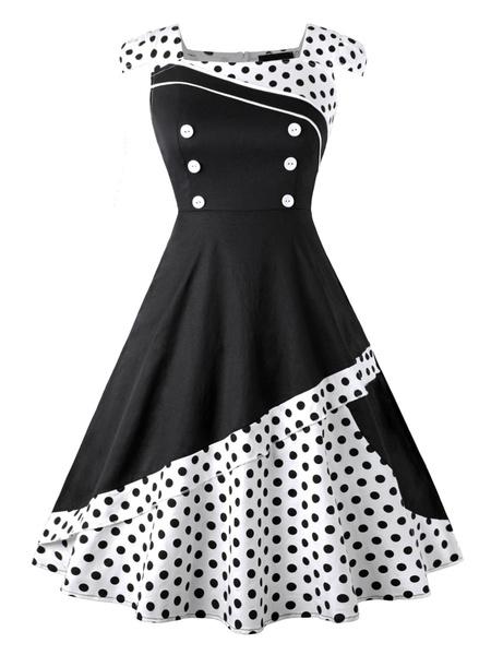Milanoo Vintage Dress 1950s White Woman Short Sleeves Swing Dress
