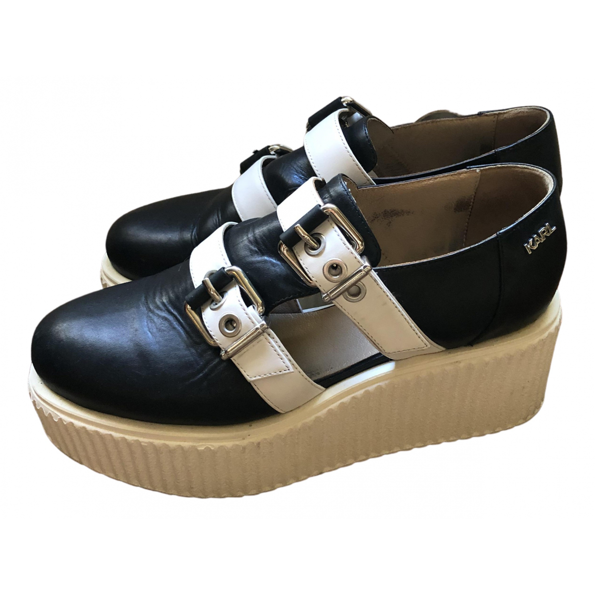 Karl Lagerfeld \N Black Leather Lace ups for Women 37 EU