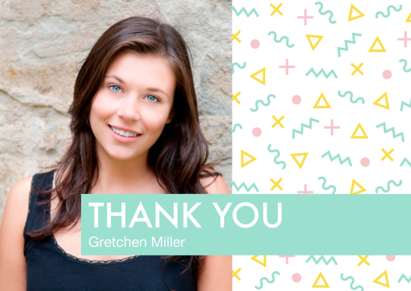 Thank You Flat Glossy Photo Paper Cards with Envelopes, 5x7, Card & Stationery -Memphis Pattern Thank You