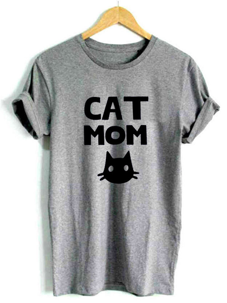 Cat Printed O-neck Short Sleeve Casual T-shirts