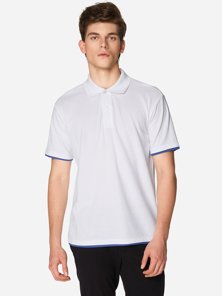 Yoins White With Navy Line Button Design Short Sleeve Men's Lapel Collar T-Shirt