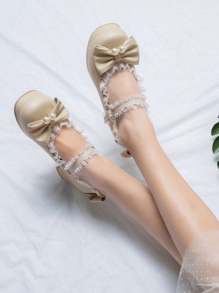 Milanoo Sweet Lolita Pumps Pink BowsLace Round Toe PU Leather Lolita Shoes