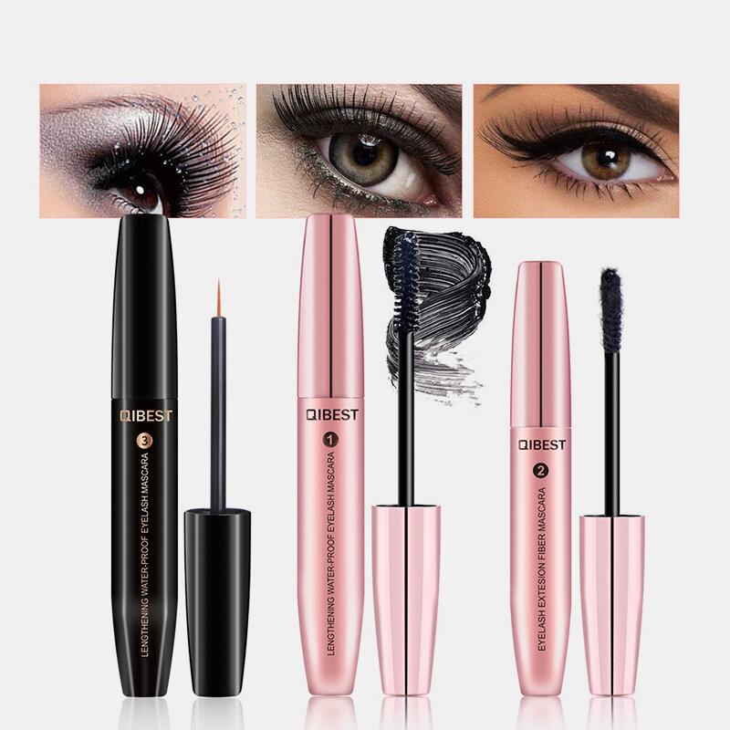 4D Fiber Mascara Set Waterproof Without Blooming Thick Slender Deep Moisturizing Graft Eyelashes