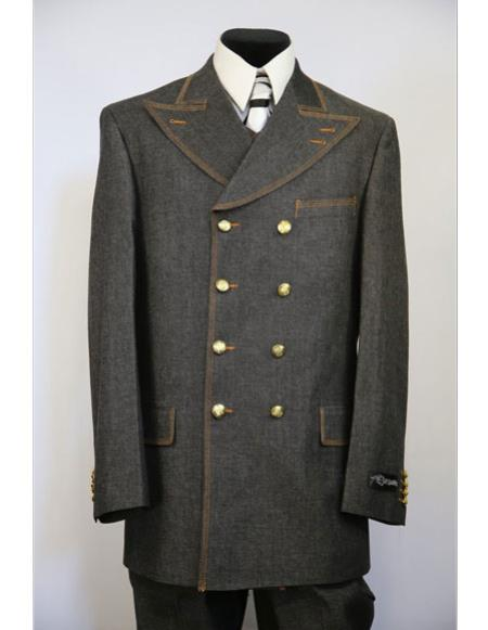 Mens Double Breasted brass & faux leather accents denim 3pc zoot suit