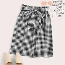 Paperbag Waist Belted Gingham Skirt