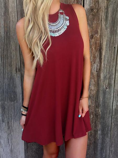 Yoins Burgundy Round Neck Flowing Hem Casual Mini Dress