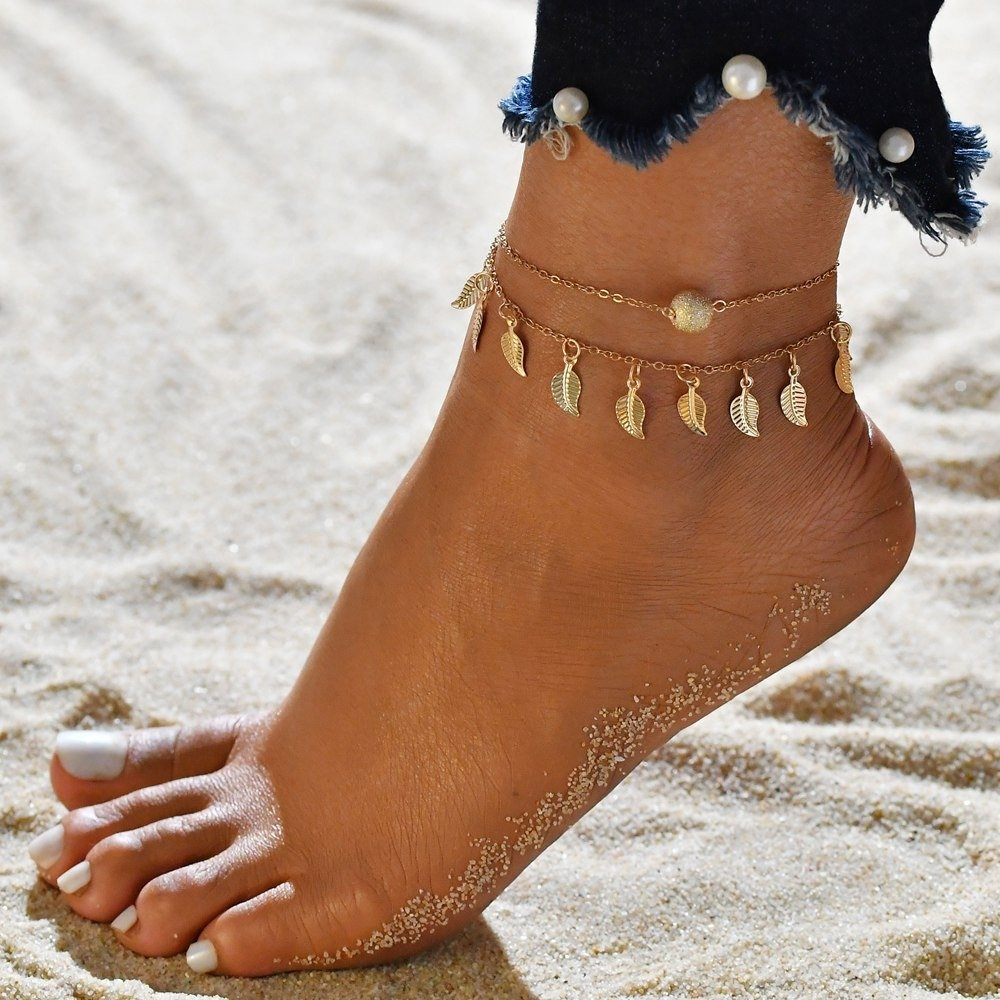 Vintage Tassels Leaves Anklets Alloy Round Bead Anklets Double Layer Women Anklets
