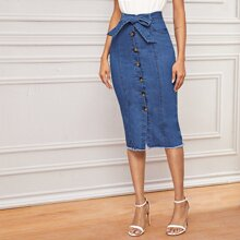 Raw Hem Button Front Belted Denim Skirt