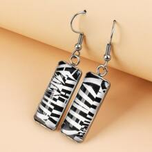 1pair Two Tone Resin Rectangle Drop Earrings