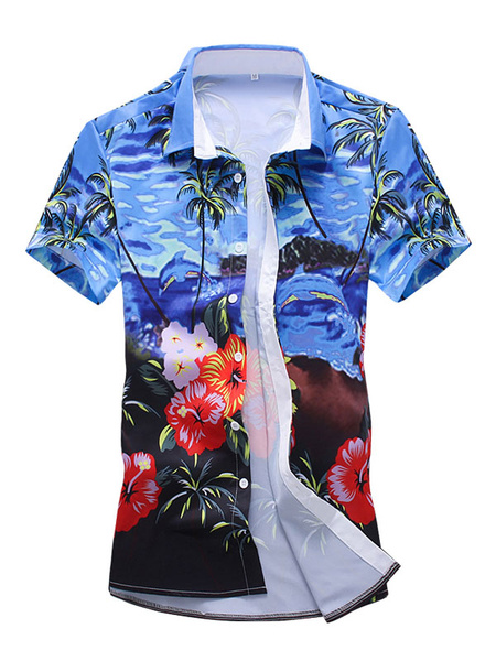 Milanoo Short Sleeve Shirt Blue Hawaii Shirt Floral Print Men Casual Shirt