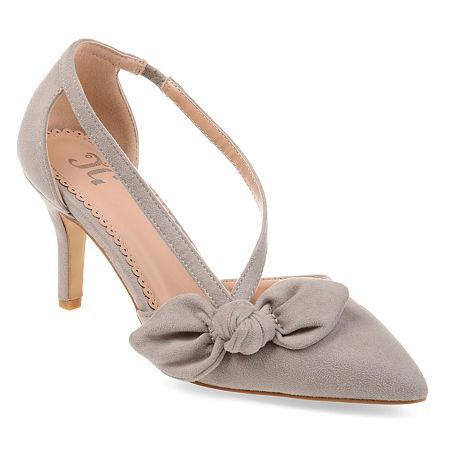 Journee Collection Womens Jilli Slip-on Pointed Toe Stiletto Heel Pumps, 12 Medium, Gray