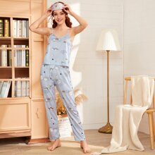 Cartoon And Letter Graphic Cami PJ Set