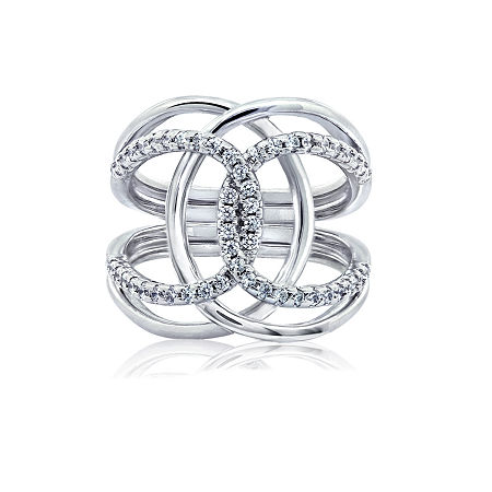 DiamonArt Womens White Cubic Zirconia Sterling Silver Cocktail Ring, 7 , No Color Family