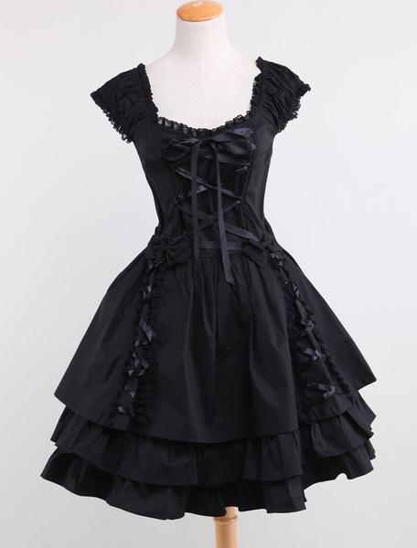 Milanoo Algodon Negro Lolita OP Vestido Encaje 3 Capas