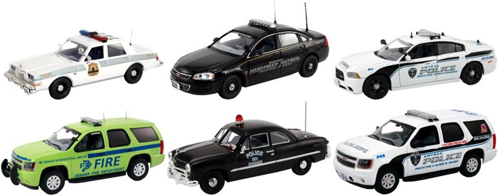 Set of 6 Police Cars Release 4 1/43 Diecast Car Models by First Response