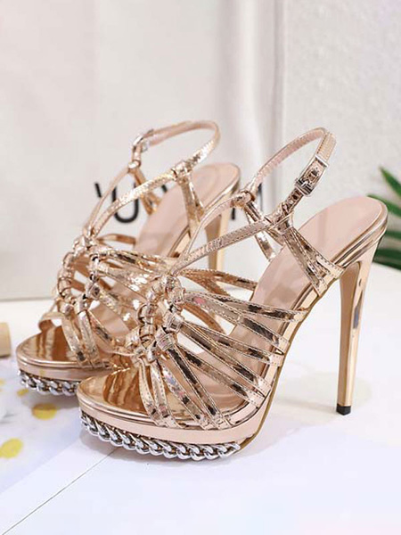 Milanoo High Heel Sexy Sandals Blond PU Leather Open Toe Gold Sexy Summer Shoes