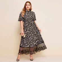 Plus Flutter Sleeve Wide Waistband Eyelash Lace Hem Leopard Dress