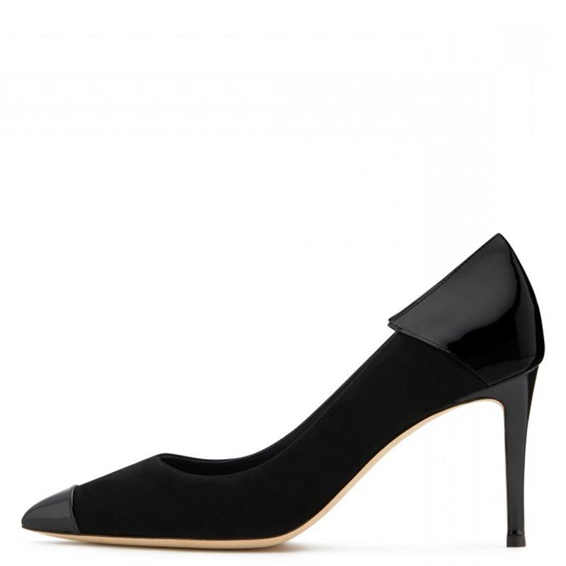 Ericdress PU Patchwork Pointed Toe Stiletto Heel Slip-On Women's Pumps