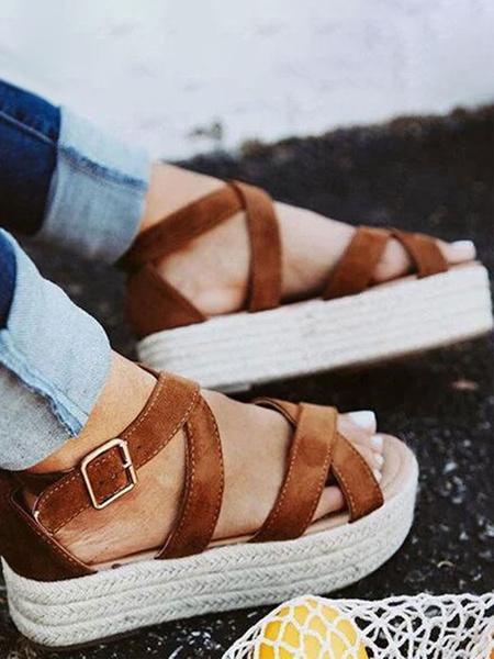 Milanoo Shoes Wedge Sandals Leopard Open Toe PU Leather Rubber Open Toe Women\'s Sandals