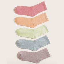 5pairs Simple Solid Socks