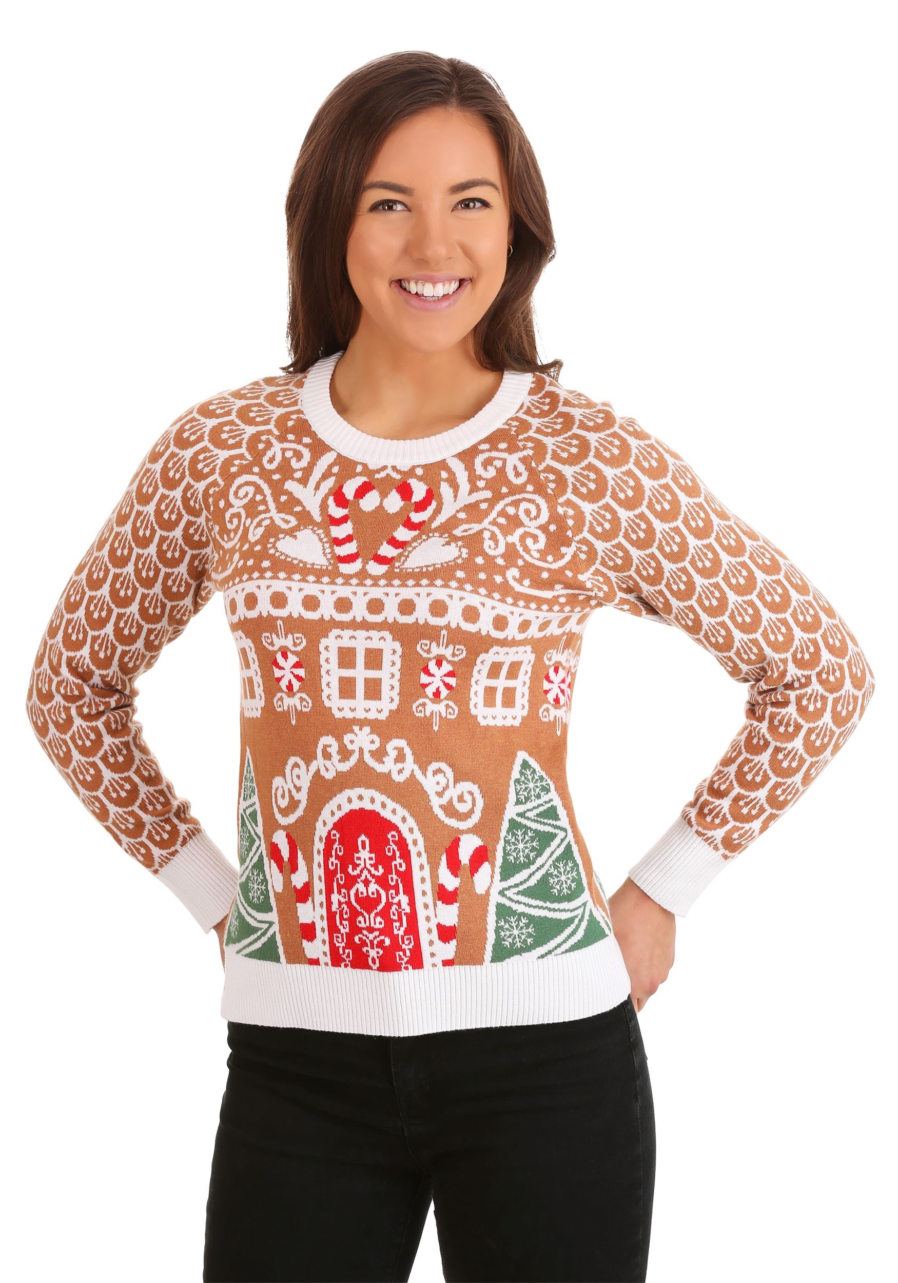 Gingerbread House Ugly Christmas Sweater for Women
