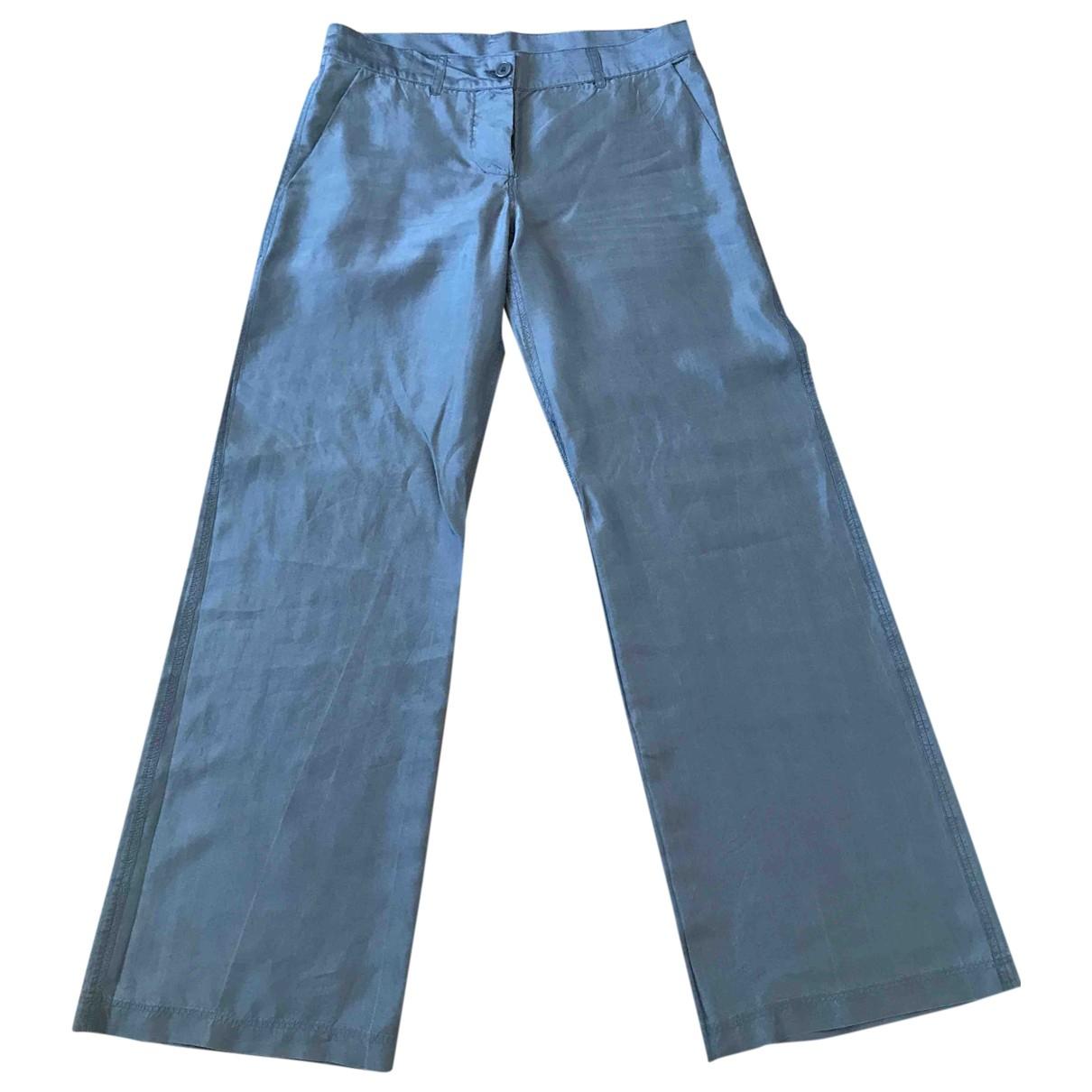 Aspesi \N Blue Silk Trousers for Women 40 IT