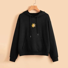 Sun & Moon Embroidery Pocket Hoodie
