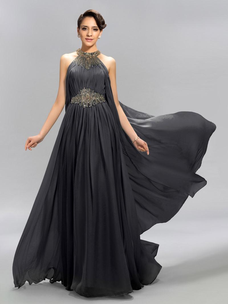Ericdress Halter Ruffles A-Line Long Evening Dress With Beadings