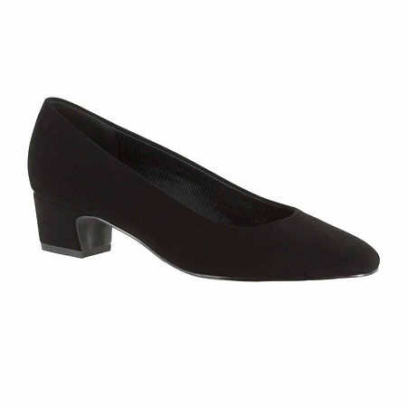 Easy Street Womens Prim Pumps Block Heel, 7 1/2 Medium, Black