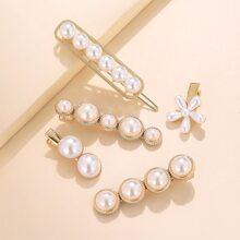 5pcs Flower Pearl Hair Clip