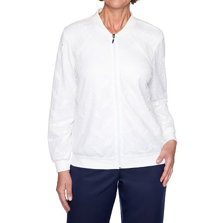 Alfred Dunner Ship Shape Lightweight Bomber Jacket, 14 , White