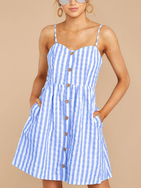 Milanoo Summer Dresses Stripes Button Up Backless Short Sundress With Pockets