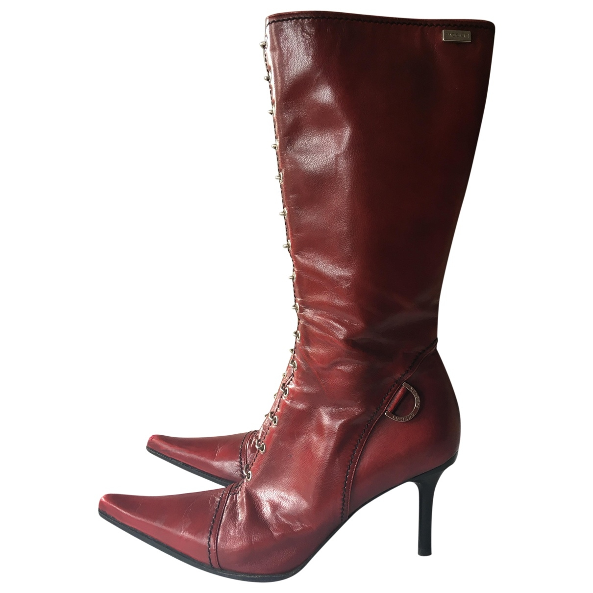 Luciano Padovan \N Red Leather Boots for Women 38 EU