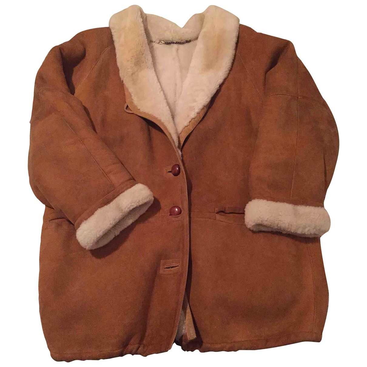 Shearling \N Camel Shearling Leather jacket for Women 46 IT