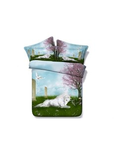 3D White Unicorn Crouching on Grass Printed 5-Piece Comforter Sets