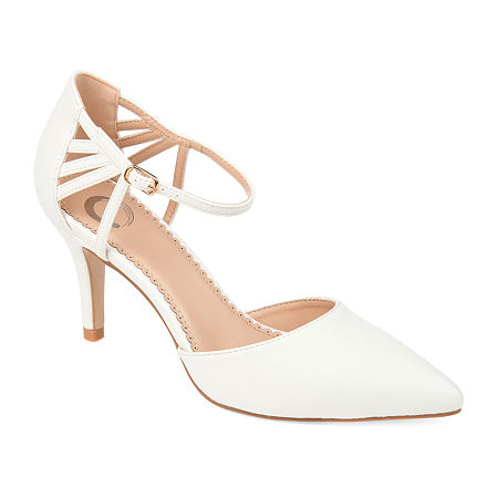 Journee Collection Womens Mia Pointed Toe Stiletto Heel Pumps, 6 Medium, White