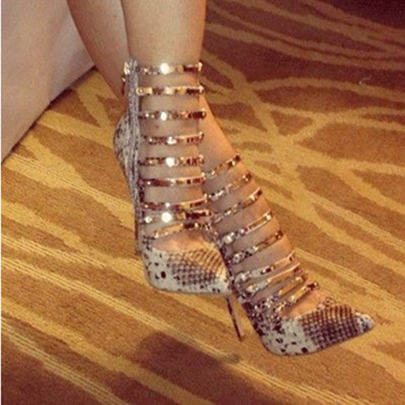 Gorgeous Snake Skin Amazing Ankle Strap High Heel Shoes