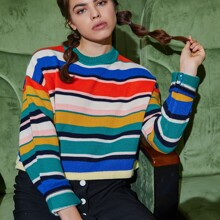 Colorful Striped Knit Crop Sweater