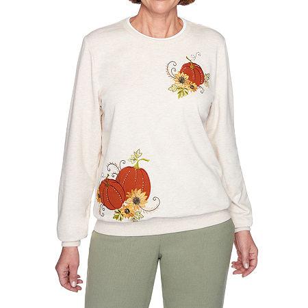 Alfred Dunner Classics Womens Crew Neck Long Sleeve Sweatshirt, Large , Beige