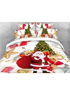 Vivilinen Santa and Christmas Tree Printed Cotton 4-Piece 3D White Bedding Sets/Duvet Covers