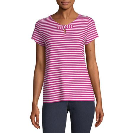 Liz Claiborne-Womens Keyhole Neck Short Sleeve T-Shirt, X-large , Pink