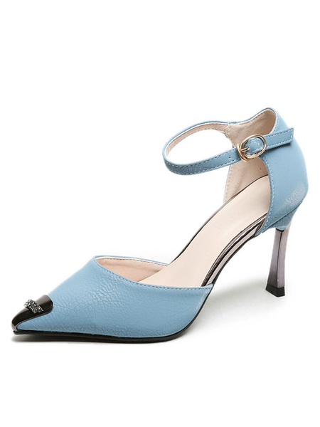 Milanoo Women's High Heels Pointed Toe Special-Shaped Heel Metal Details Light Sky Blue Ankle Strap Sandals