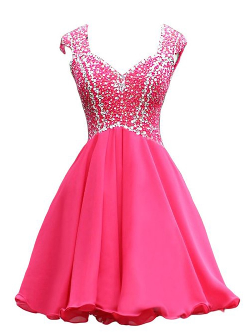 Ericdress Cap Sleeve Sequins Beaded Backless Homecoming Dress