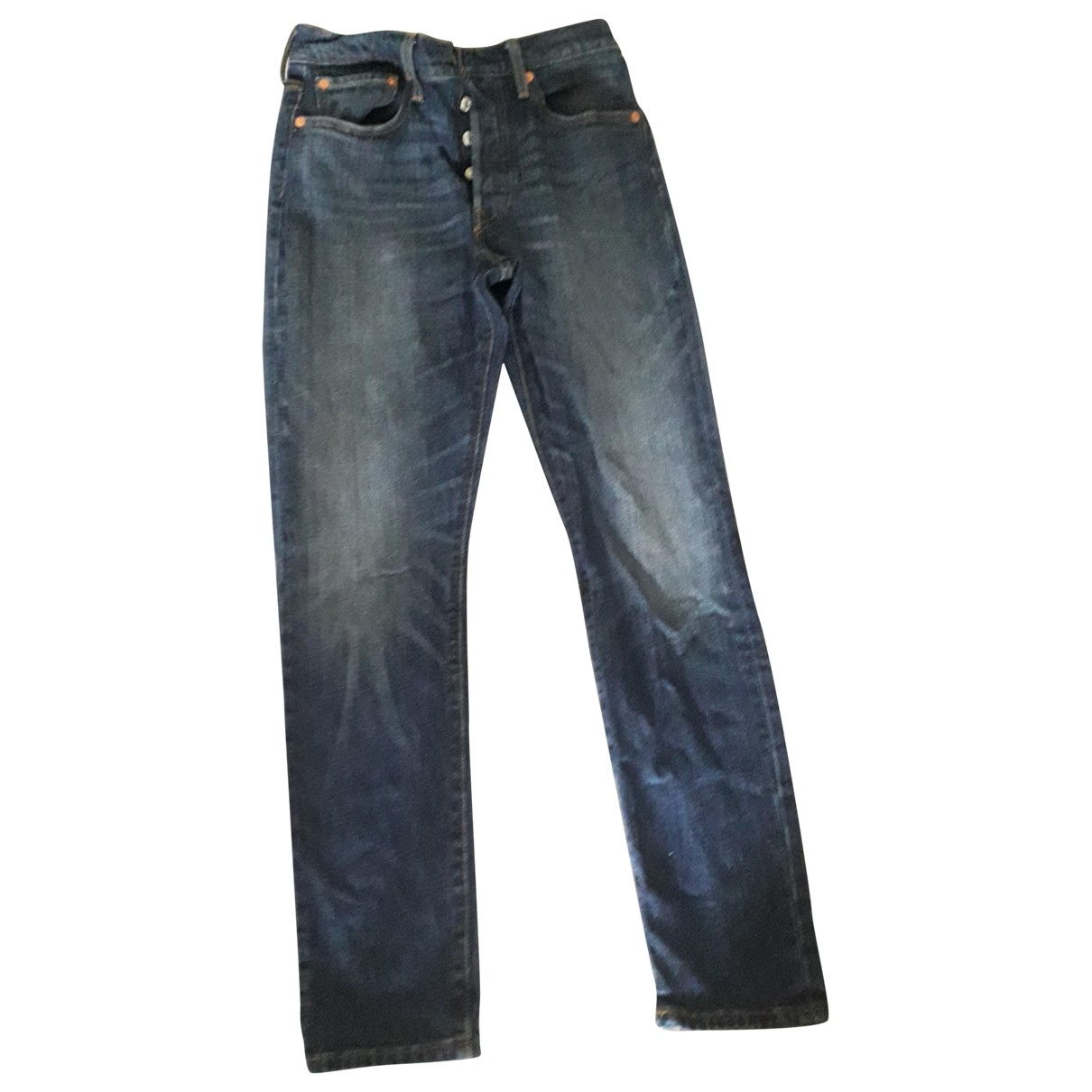Levi's 501 Navy Cotton - elasthane Jeans for Women 26 US