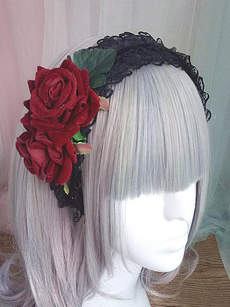Milanoo Gothic Lolita Headband Rose Lace Ruffle Black Lolita Headdress