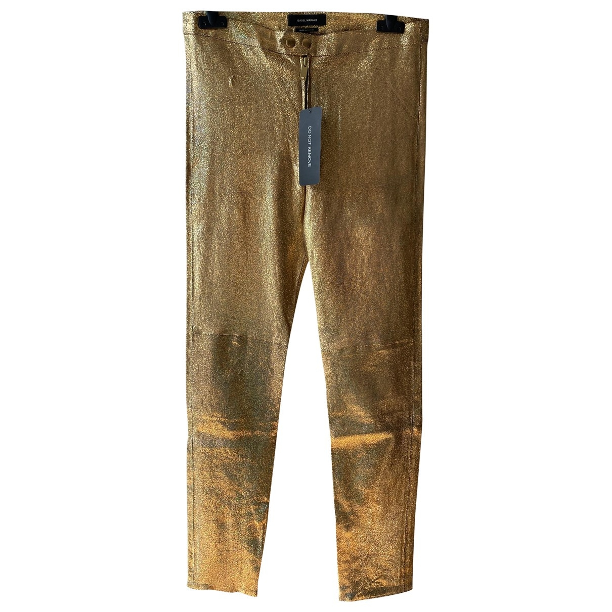 Isabel Marant \N Gold Leather Trousers for Women 36 FR