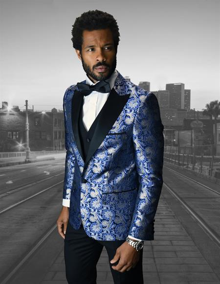 Single Breasted Peak Label Royal Blue ~ Indigo Tuxedo Suit