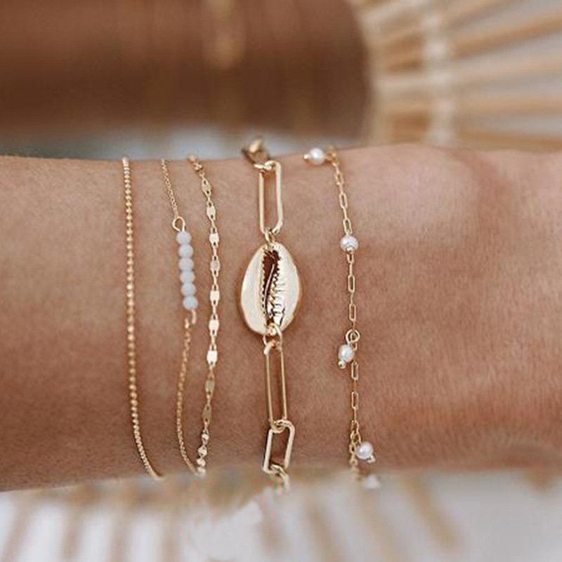 Bohemian Beads Bracelet Set Shell Pendant Pearl Chain Charm Bracelet Trendy Jewelry for Women