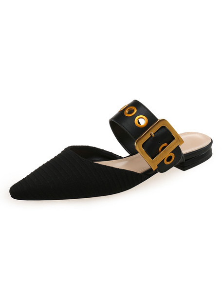 Milanoo Black Mule Shoes Women Pointed Toe Buckle Detail Backless Flat Mules